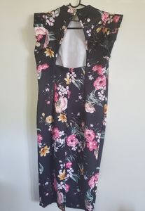 Chinese inspired floral evening dress.